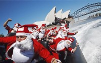 santa on sydney harbour - Christmas in July