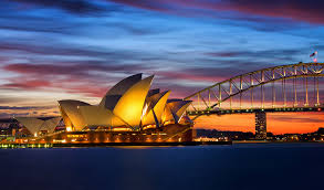 Sunset Sydney Opera House and Harbour Bridge