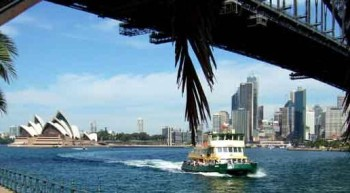 Sydney Ferry under the Harbour Bridge
